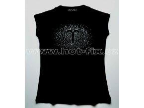 01 Beran dámské tričko s kamínky znamení zvěrokruhu, znamení beran hot fix kameny rozptyl