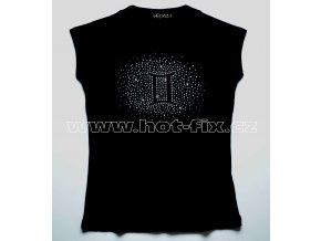 03 Blíženci dámské tričko s kamínky znamení zvěrokruhu, znamení Blíženci hot fix kameny rozptyl
