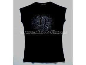 05 Lev dámské tričko s kamínky znamení zvěrokruhu, znamení Lev hot fix kameny rozptyl