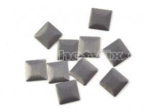 čtverec 7x7mm bronz mat tmavý kovové hot fix kamínky na textil