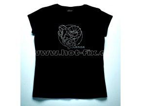 01 Beran dámské tričko s hot fix kamínky znamení zvěrokruhu Beran