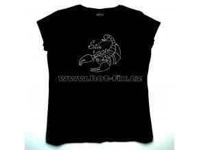 08 Štír dámské tričko s hot fix kamínky znamení zvěrokruhu Štír