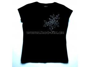 502 dámské tričko s hot fix kamínkovým potiskem květina hot fix kameny