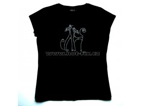504 kočky dámské tričko s hot fix kamínkovou aplikací hot fix kameny