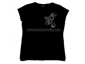 506 dámské tričko s hot fix kamínkovým abstraktním vzorem hot fix kameny