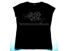 507 dámské tričko s hot fix kamínkovou aplikací květina hot fix kameny