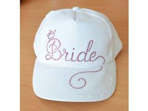 2001 A bílá kšiltovka s růžovými hot fix kamínky Bride pro nevěstu na předsvatební party hot fix kameny
