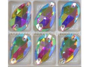 slza 13x22mm našívací kámen skleněný barva AB Crystal duhový efekt .jpgB