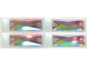 našívací kámen na textil obdélník barva stříbrná s duhovým efektem AB Crystal