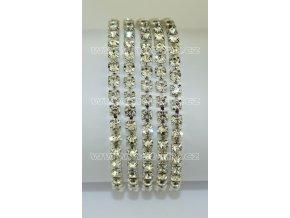 našívací kamínkový řetěz kovový stříbrný, typ A velikost kamenů SS16, barva kamenů 101 Crystal stříbrná