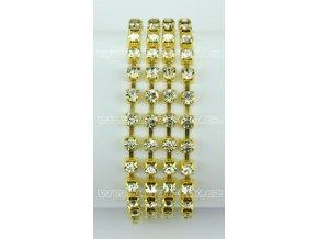našívací kamínkový řetěz kovový zlatý, typ B velikost kamenů SS16, barva kamenů 101 Crystal stříbrná