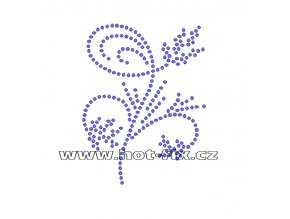 A037 - abstraktní květina hot-fix kamínková aplikace na textil, rozměry cca 7,0x8,8cm