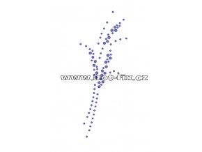 A040 - abstraktní květina nažehlovací hot-fix kamínková aplikace na textil, rozm. cca 5,0x13,3cm