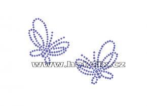 A086 - abstraktní motýlci nažehlovací hot-fix kamínkový potisk na textil, rozměry cca 9,9x7,4cm