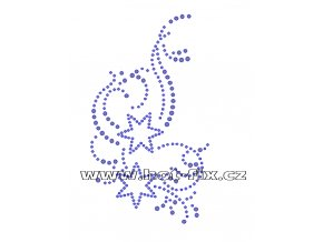 A044 - hot-fix kamínkový potisk na textil abstraktní motiv, rozměry cca 8,1x14,4cm