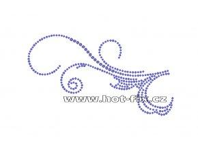 A047-L - abstrakt nažehlovací hot-fix kamínková aplikace na textil, rozm. cca 14,6x8,1cm