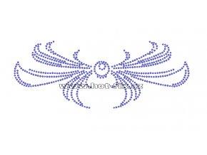 A052 - mašle abstrakt hot-fix nažehlovací kamínkový potisk na textil, rozměry cca 19,7x7,7cm