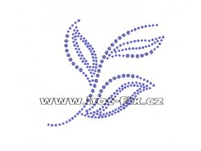 A055 - abstraktní květinový motiv nažehlovací potisk na textil hot-fix kameny, rozměry cca 9,8x9,0cm