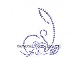 A063 - abstraktní květinový motiv hot-fix kamínkový potisk na textil, rozměry cca 9,3x11,6cm