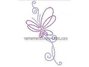 A078 - abstraktní motýl nažehlovací hot-fix kamínková aplikace na textil, rozměry cca 13,6x24,2cm