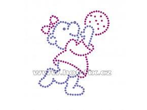 D002 - nažehlovací potisk z hot-fix kamínků medvědí holka, rozměry cca 7,7x9,3cm