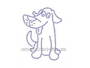D005 - pes nažehlovací hot-fix kamínková aplikace na textil, rozměry cca 7,5x10,0cm