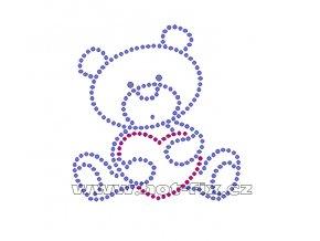 D007 - medvídek nažehlovací hot-fix kamínková aplikace na textil, rozměry cca 7,9x8,3cm