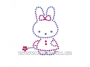 D009 - nažehlovací potisk z hot-fix kamínků malá králičí slečna, rozměry cca 5,8x7,8cm