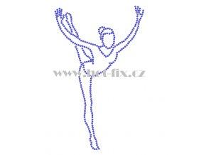 C186 gymnastka hot fix nažehlovací potisk na tričko, textil hot fix kamínky