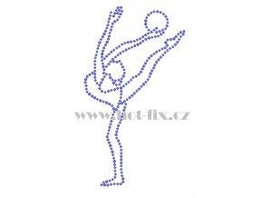 C187 gymnastka hot fix nažehlovací potisk na tričko, textil hot fix kamínky