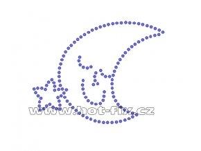 D018 - nažehlovací potisk z hot-fix kamenů spící měsíc, rozm. cca 8,3x6,5cm