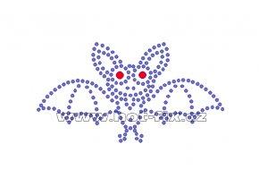 D020 - nažehlovací potisk z hot-fix kamenů netopýr, rozm. cca 9,8x5,3cm