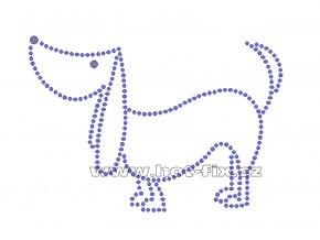 D021 - nažehlovací potisk z hot-fix kamenů pes, rozm. cca 13,0x9,6cm