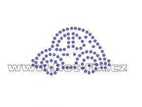 D022 - autíčko nažehlovací potisk z hot-fix kamenů, rozměry cca 5,3x3,2cm