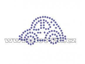 D022 - nažehlovací potisk z hot-fix kamenů autíčko, rozm. cca 5,3x3,2cm