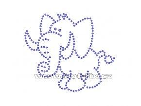 D025 - slon nažehlovací hot-fix kamínková aplikace na textil, rozměry cca 10,0x8,6cm