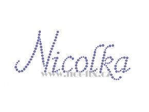 Nicolka jméno nažehlovací aplikace nažehlovací kamínkový potisk na textil hot fix kameny