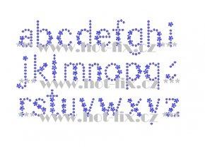 F021m písmena malá abeceda fonty písma nažehlovací kamínkový potisk na tričko, textil hot fix kameny