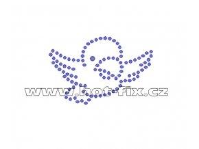 D035 - papoušek nažehlovací hot-fix kamínková aplikace na textil, rozměry cca 6,2x4,1cm
