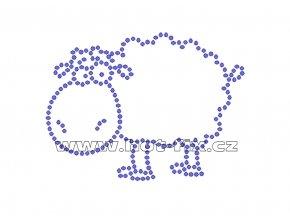 D058 - nažehlovací potisk z hot-fix kamenů ovce, rozm. cca 9,2x6,9cm
