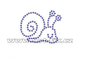 D081 - nažehlovací potisk z hot-fix kamenů šnek, rozm. cca 5,0x4,0cm