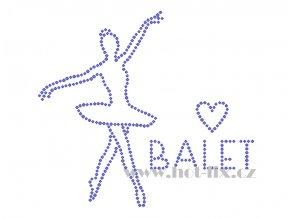 C066 verze B I love balet baletka nažehlovací potisk na textil hot fix kamínky