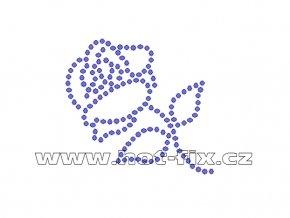 K001 - růže nažehlovací potisk z hot-fix kamenů, rozměry cca 5,8x5,3cm