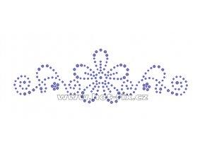 K007 - květinový motiv nažehlovací potisk z hot-fix kamenů, rozměry cca 17,5x5,5cm
