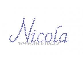 Nicola jméno nažehlovací aplikace nažehlovací kamínkový potisk na textil hot fix kameny