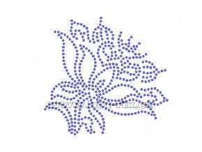 K011 - květina nažehlovací potisk z hot-fix kamenů, rozměry cca 10,0x9,6cm