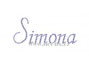 Simona jméno nažehlovací potisk nažehlovací kamínkový aplikace na textil hot fix kameny