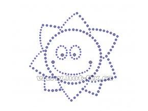 D065 - sluníčko nažehlovací potisk na textil z hot-fix kamenů, rozm. cca 10,7x10,9cm