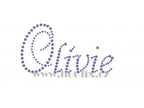 Olívie jméno nažehlovací aplikace nažehlovací kamínkový potisk na textil hot fix kameny