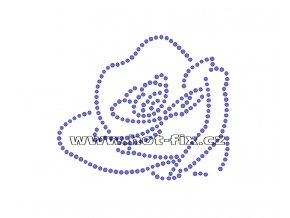 K017 - růže nažehlovací potisk z hot-fix kamenů, rozměry cca 8,4x7,1cm